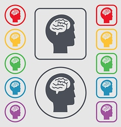 Brain icon sign symbol on the Round and square vector image