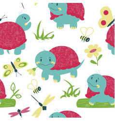 cartoon turtles with insects seamless pattern vector image vector image