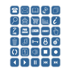 set of blue office and web icons with white vector image