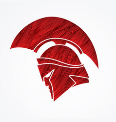 Spartan warrior helmet weapon head roman fighter vector
