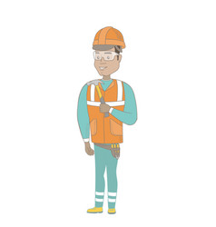 young hispanic carpenter holding a hammer vector image vector image