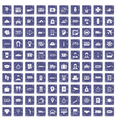 100 paying money icons set grunge sapphire vector image