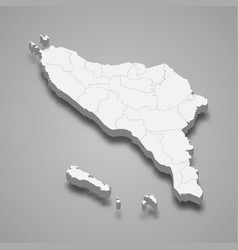 3d isometric map aceh is a province vector