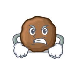 Angry meatball mascot cartoon style vector