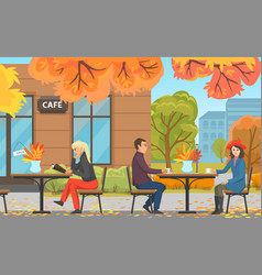 autumn park with cafe couple and woman at table vector image