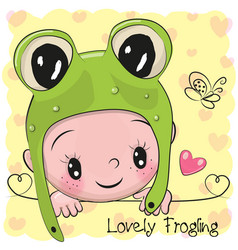 Baby boy in a frog hat vector