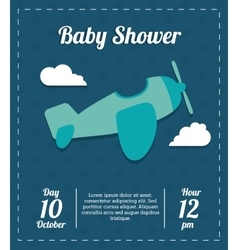 Baby Shower design airplane icon Blue vector