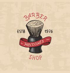 barbershop badge label logo brush emblem vector image