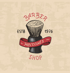 Barbershop badge label logo brush emblem vector