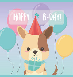 Birthday card with little dog character vector