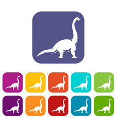 brachiosaurus dinosaur icons set flat vector image