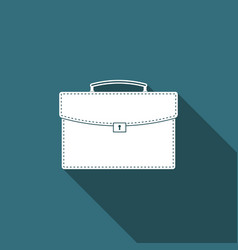 briefcase icon with long shadow business case vector image
