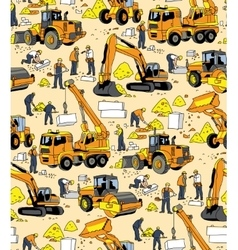 Building people and construction equipment color vector image