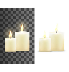 Burning wax candles with bright flame vector