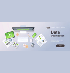 Business analytics data optimization concept top vector