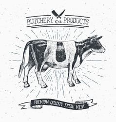 Butcher shop vintage emblem beef meat products vector