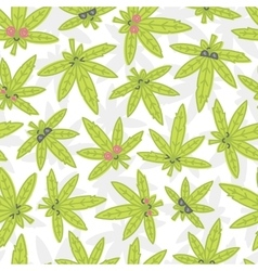 Cartoon kawaii weed seamless pattern white vector