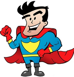 Cartoon of an Strong Happy Super Hero vector image