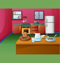 cartoon pink style kitchen interior with wooden ta vector image