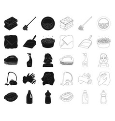 Cleaning and maid blackoutline icons in set vector