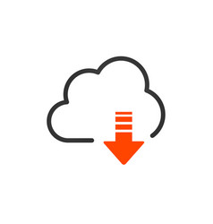 cloud download linear icon with editable stroke vector image