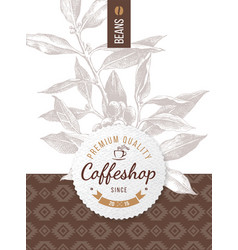 coffee design with coffeshop round emblem vector image