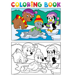 Coloring book winter topic 5 vector