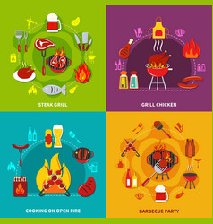 cooking on open fire steak grill and grill chiken vector image