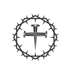 Cross formed nails crucifixion vector