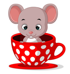 Cute cartoon mouse in a cup vector