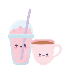cute coffee cup and milkshake kawaii cartoon vector image