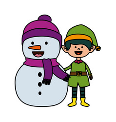 Cute elf and snowman christmas characters vector