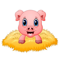 Cute pig cartoon in the nest vector