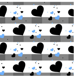 Cute seamless pattern with hearts and horizontal vector