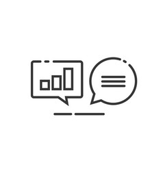 Data analytics icon line outline analyzing vector