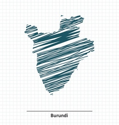 Doodle sketch of Burundi map vector