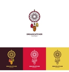 Dreamcatcher logo with feathers and beads vector image