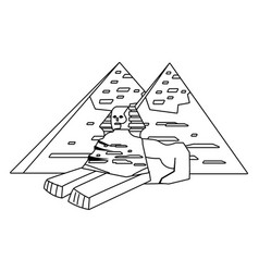 Egyptian pyramids and sphinx design vector