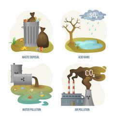 Environmental problems waste disposal acid rain vector