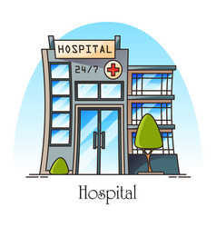 facade hospital in thin line or clinic hospice vector image