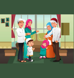 Family celebrating eid-al-fitr vector