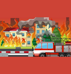 fire in the villlage vector image