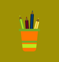 Flat icon on background pencils in stand vector