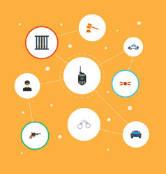 Flat icons automobile walkie-talkie jail and vector