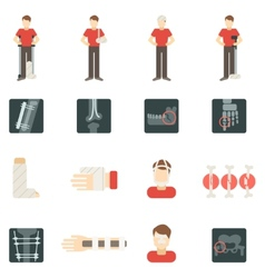 Fracture Bone Flat Icons Set vector