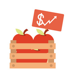 Fresh harvest apples in box increase price market vector