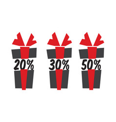Gift box sale icons vector