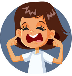 Girl covering ears complaining about loud noise vector