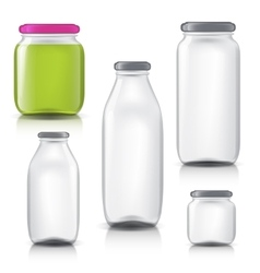Glass bottles empty transparent set Template of vector image