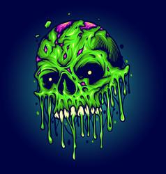 Green zombie skull isolated melt vector